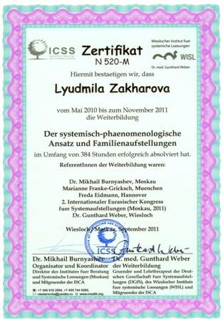 Межународный сертификат расстановщика WISL, Германия
